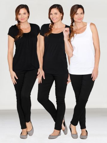 Maternity 3 pce Essential Nursing Tops - Black & White