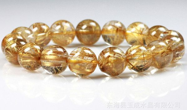 Природные золотые волосы Rutilated кварцевый браслет 10 мм Золотой рутил кристалл исцеляющий камень