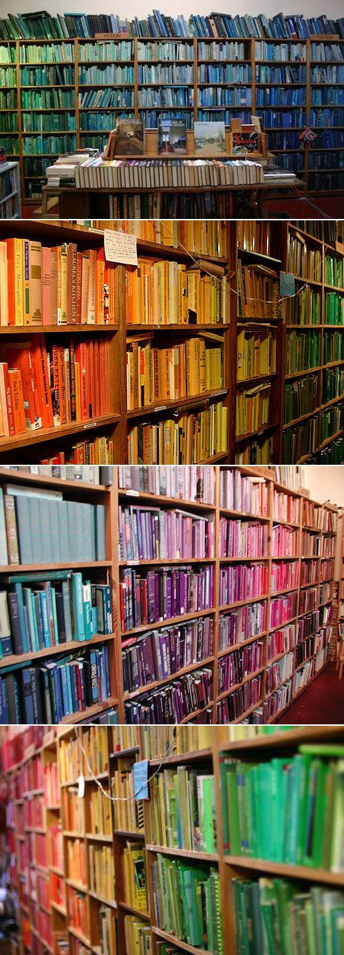 75 best amazing uses for booksother than reading images on there is nothing wrong in this whole wide world chris cobb created this installation at adobe books where he catalogued books by color malvernweather Image collections