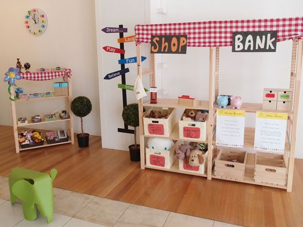 Why haven't I thought to include a bank in our family living space? Ideas for introducing businesses into your preschool