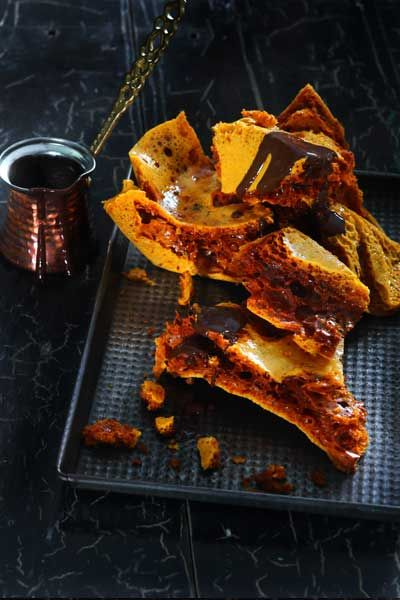 Forget a store bought Crunchie, make your very own honeycomb at home. Crunchy, golden and when dipped in chocolate, a completely decadent treat.