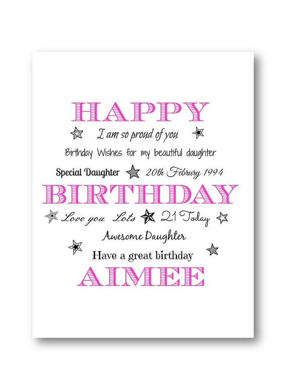 Personalised Typography Birthday Card Personalized Birthday Card – Niece 21st Birthday Cards