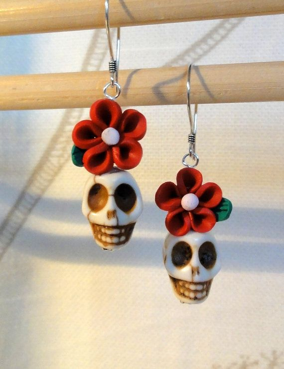 Dia de los Muertos Earrings - White Skull w/ Red Flower