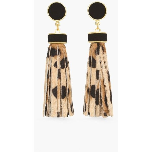 Chico's Luna Tassel Earrings ($35) ❤ liked on Polyvore featuring jewelry, earrings, leopard, metal jewelry, chicos earrings, leopard earrings, animal earrings and leopard jewelry