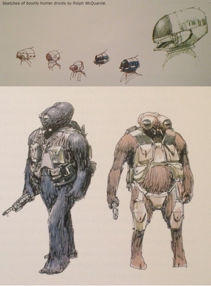 Ralph McQuarrie sketches for bounty hunter ideas for ESB.