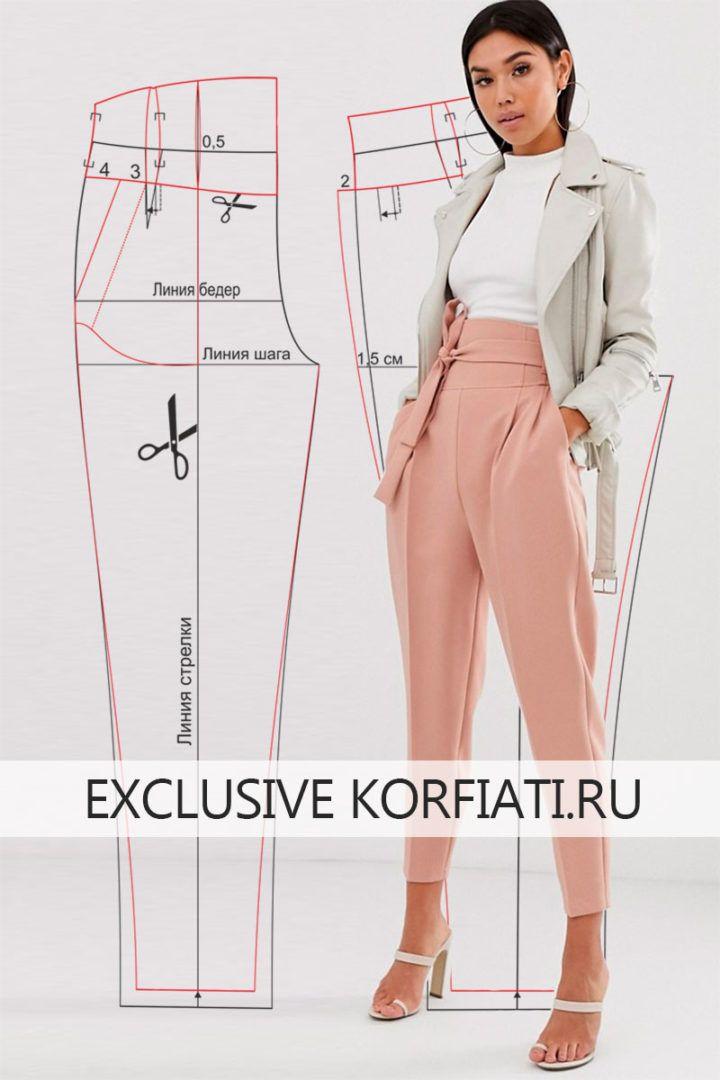 Выкройка брюк с поясом корсетного типа от Анастасии Корфиати