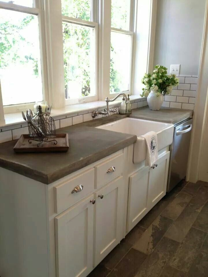 Love this, need a white kitchen with concrete counters, and that floor ! Need to hire Joanne Gaines!