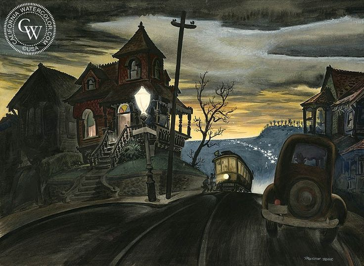 Bunker Hill Cable Car, 1938, California art by Preston Blair. HD giclee art prints for sale at CaliforniaWatercolor.com - original California paintings, & premium giclee prints for sale