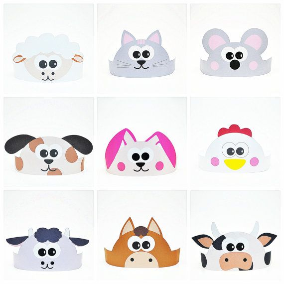 11 Farm Animals Paper Crowns Set. DIY Papaer Hats by ShapaLapa