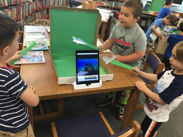 Don't throw that Pizza Box Away! - Portable Green Screens in our K-2 Library - Three kindergarten boys working on their movie ...
