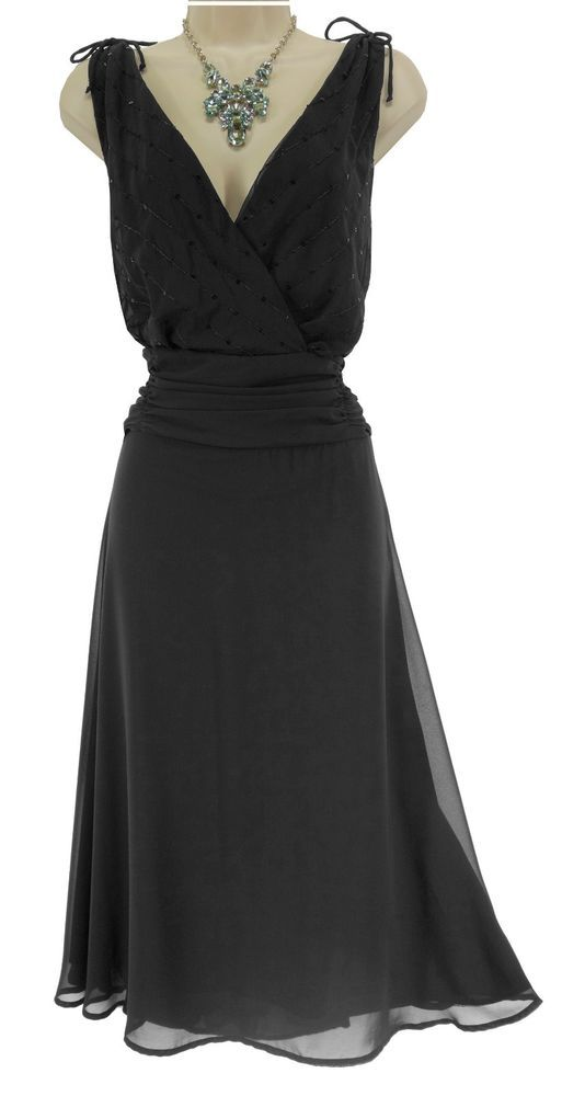 20W 2X SEXY Women LITTLE BLACK CHIFFON DRESS Evening Occasion Cocktail PLUS SIZE #DressbarnCollection #RuchedWaistMidi #SpecialOccasion