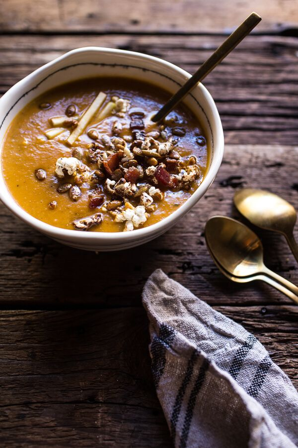 Smoky Pumpkin Beer and Cheddar Potato Soup with Candied Bacon Popcorn | halfbakedharvest.com @hbharvest