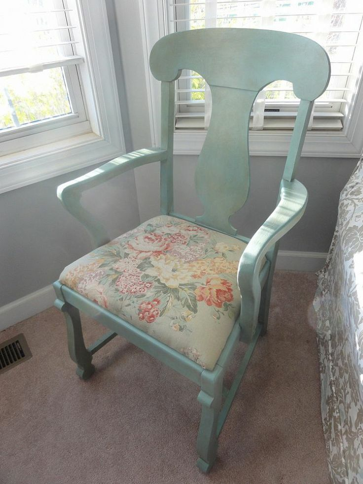 Thrift store chair repainted in ASCP Duck Egg Blue with clear and dark wax.