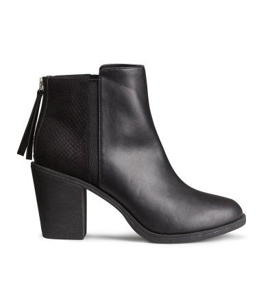 Classic black ankle boots in imitation leather with narrow elasticized panels at sides, zipper at back, rubber soles & stacked heels. | H&M Shoes