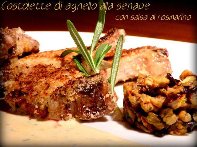 Il mio mondo in cucina: COSTOLETTE DI AGNELLO ALLA SENAPE CON PANURE DI NOCCIOLE E SALSA AL ROSMARINO
