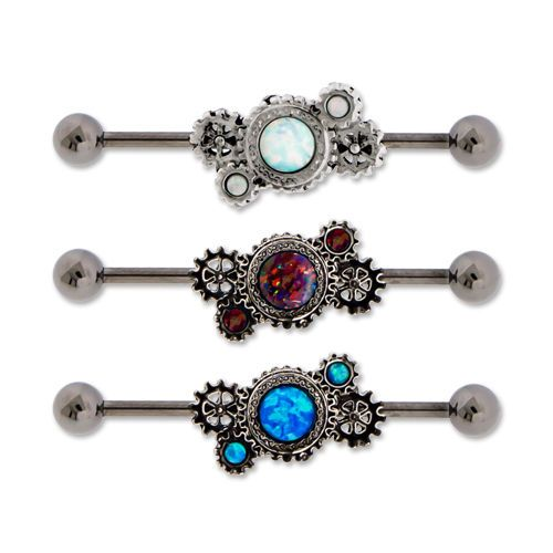 CUTE STEEL OPAL STEAMPUNK GEARS INDUSTRIAL BARBELL EAR BODY JEWELRY PIERCING #MetalMafia