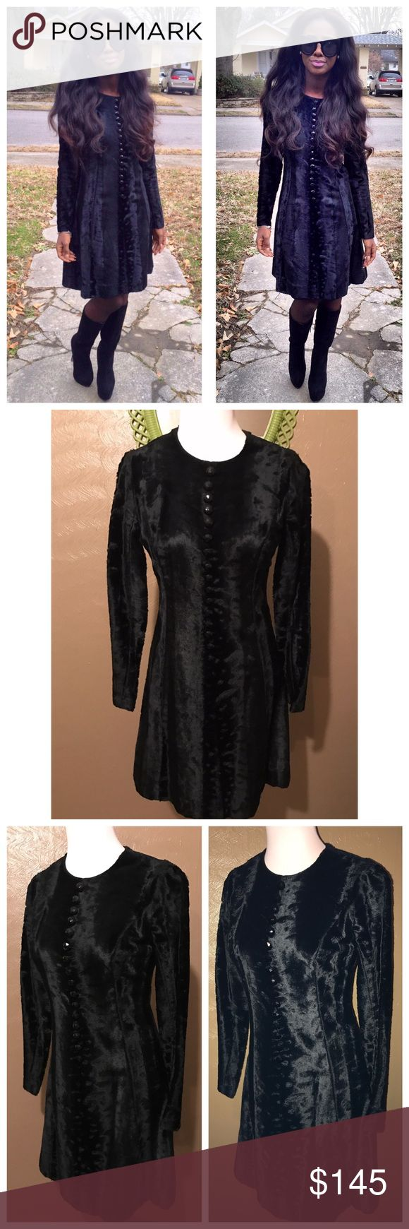 Saks Fifth Ave Vintage Fur Dress Very Beautiful, RARE Saks Fifth Ave. Vintage, All Black Fur Dress. Has black decorative buttons down the front. Originally purchased for $290, I have gained much weight and can no longer fit it. Tag reads 5, but fits like an XS!                                                         **Measurements taken laying flat.** Length, Top of shoulder to hem: 35.5 in., Waist: 15.5 in., Bust: almost 17 in. (Dry clean only) Awesome condition!! Ask questions! Saks Fifth…
