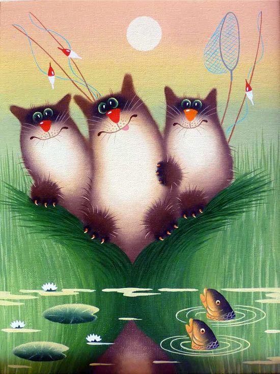 Днем, красивые смешные картинки с котами рисованные