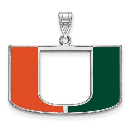 Miami Hurricanes Canes Sterling Silver Enamel Pendant | Logo Art | SS032UMF