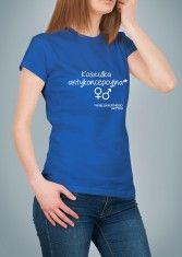 Koszulka z napisem: Koszulka antykoncepcyjna. niebieska
