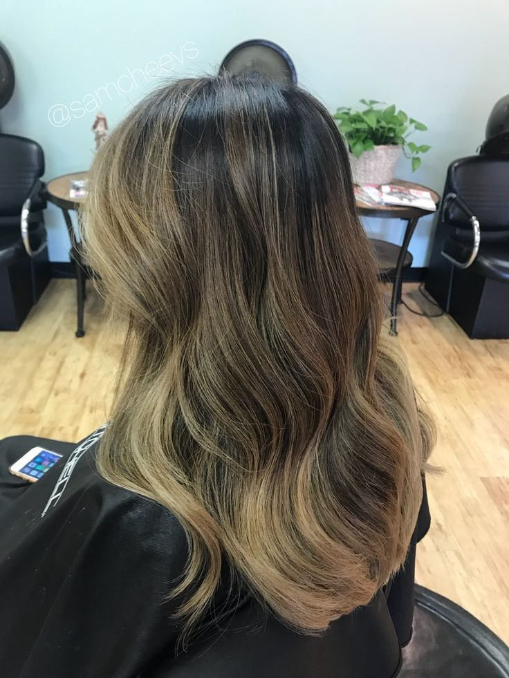 Balayage for brown hair and black hair / Ashe blonde and brown highlights for dark brown black thick hair / color for Asian hair types / Indian / Hispanic / middle eastern / ethnic hair types