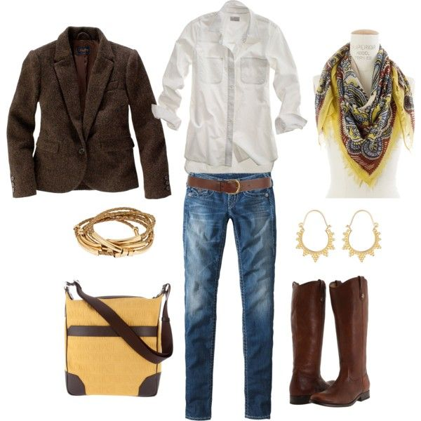love the riding boots, the tweed jacket, the satchel, the classic white shirt and the patterned scarf. good stuff!
