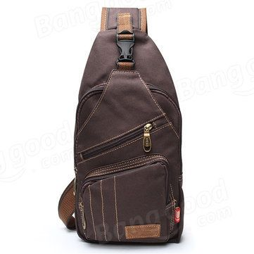 Men Outdoor Canvas Travel Hiking Crossbody Bag Casual Chest Bag - US$18.00