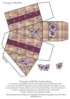 Cake Box Triangle Floral  on Craftsuprint designed by Di Simpson - Floral triangle cake box and flower embellishments - Now available for download!