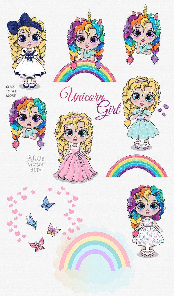 My Unicorn Girl Vector Clipart Set 721212 Characters Design Bundles In 2021 Clip Art Alphabet Illustration Girls Cartoon Art