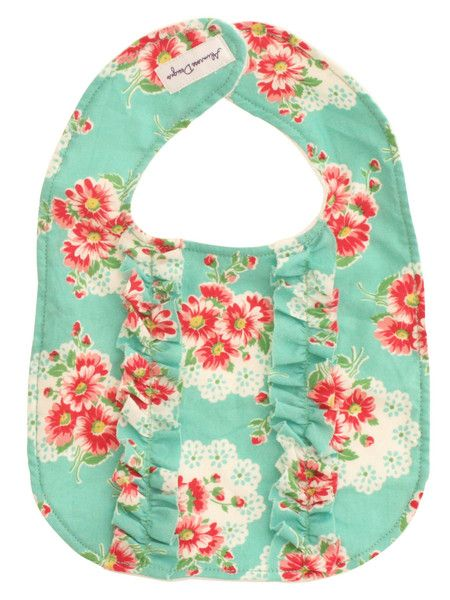 Designed in Australia by Alimrose Designs, this very pretty floral bib features double ruffles on the front, is towelling-backed and fastens with velcro tabs.  Teams perfectly with the Alimrose Martha Rattle.