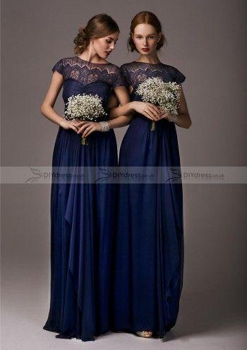A-Line Cap Sleeve Bateau Bowknot Zipper Bridesmaid Dresses