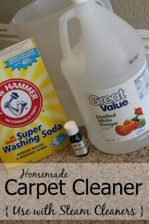 Steam carpet cleaner solution  –1 gallon Warm Water –2 Gallon Pitcher –1/4 cup Distilled White Vinegar –1/4 cup Bleach-free liquid dish soap –a few drops of Essential Oils (optional)  In Pitcher, mix warm water with vinegar and dish soap.  Add optional essential oils for scent. Pour mixture into the cleaning solution reservoir of your carpet cleaning machine. Be sure to pre-treat any stains. Clean carpets as normal.