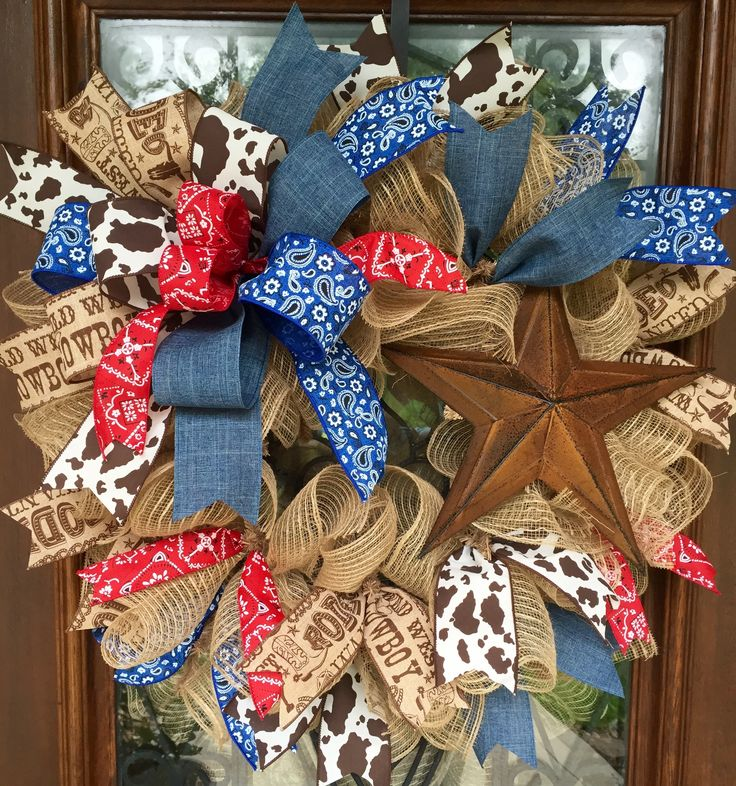 Cowboy/rodeo/western wreath.   www.facebook.com/southernsass