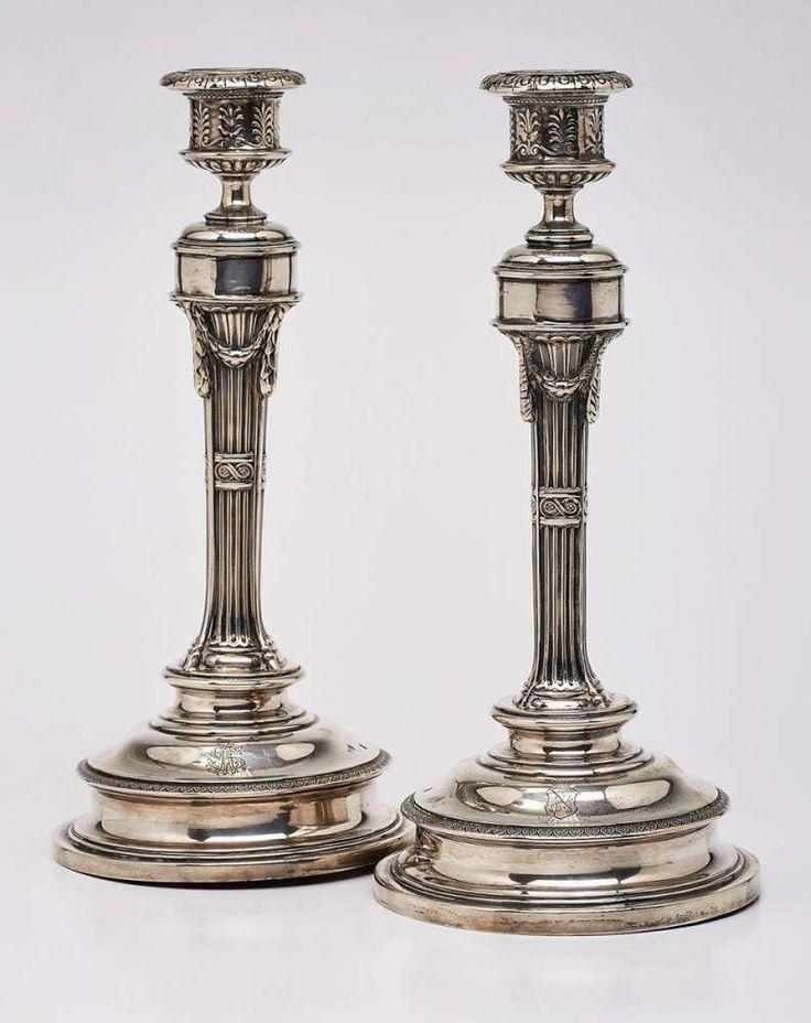 """Paar Leuchter, Wien um 1890Silber. Beschau Österreich, Meistermarke """"J.C. K."""" (f. Joseph Carl Klink — Silber"""