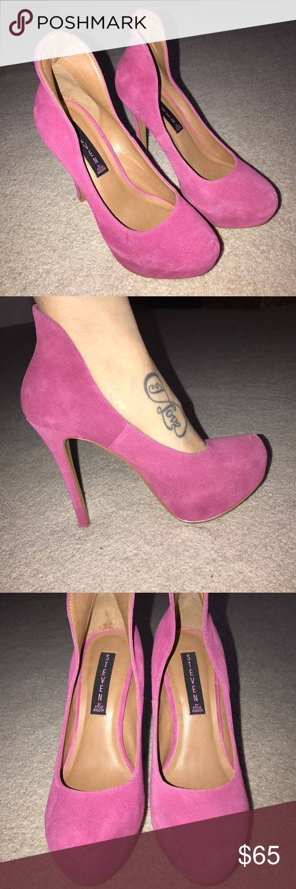 Steve Madden Fuschia High Heels Steve Madden High Heel Shoes. Fuschia Suede very sexy high heels, with a high back. Comfortable and stylish! Excellent condition never used! Steve Madden Shoes Heels