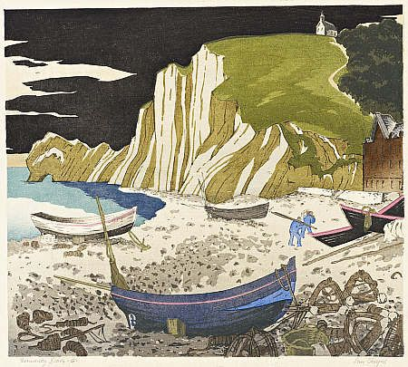 Normandy Beach, Ian Cheyne, woodcut