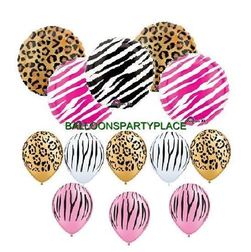 Hello kitty leopard print birthday decorations for Animal print party decoration ideas