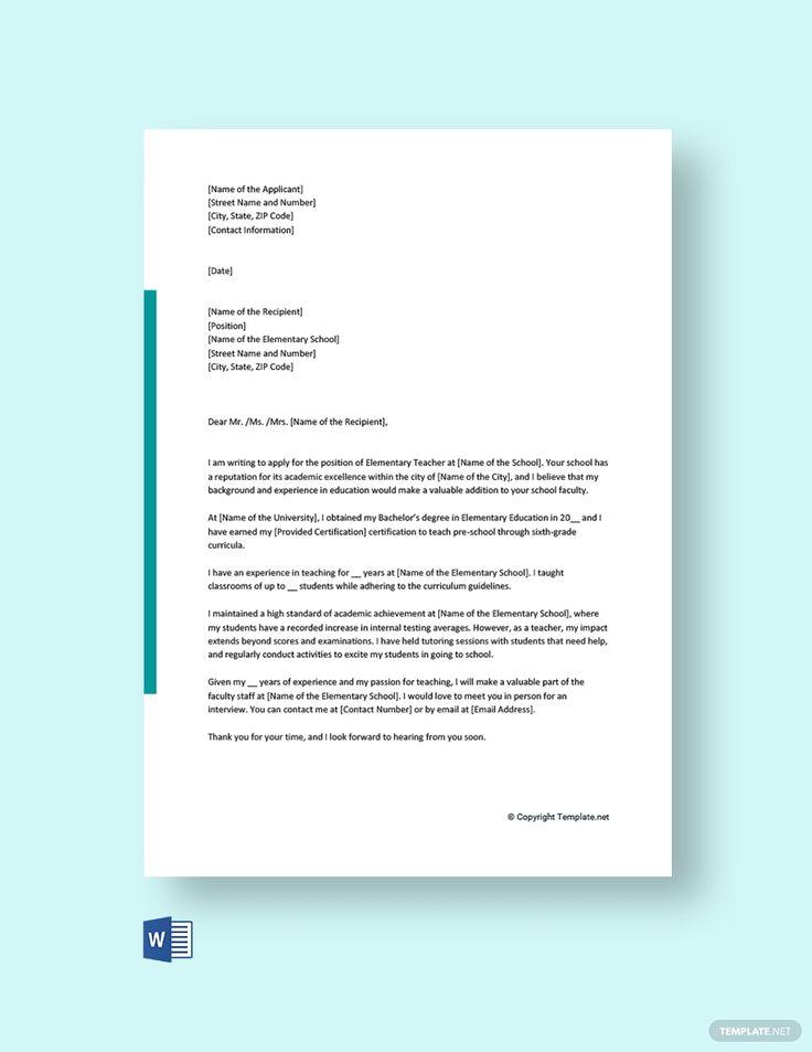25++ Elementary teacher cover letter template trends