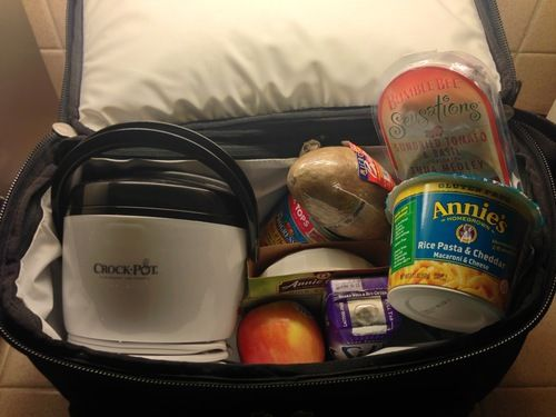 flight attendant snack cooler ideas for plane - Mac and Cheese, tea bags, tuna and crackers, oatmeal packets,