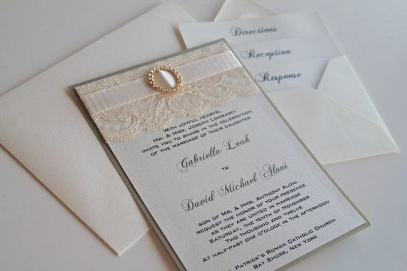 lace layered wedding invitation with 3 inserts by dkweddingdesigns, Wedding invitations