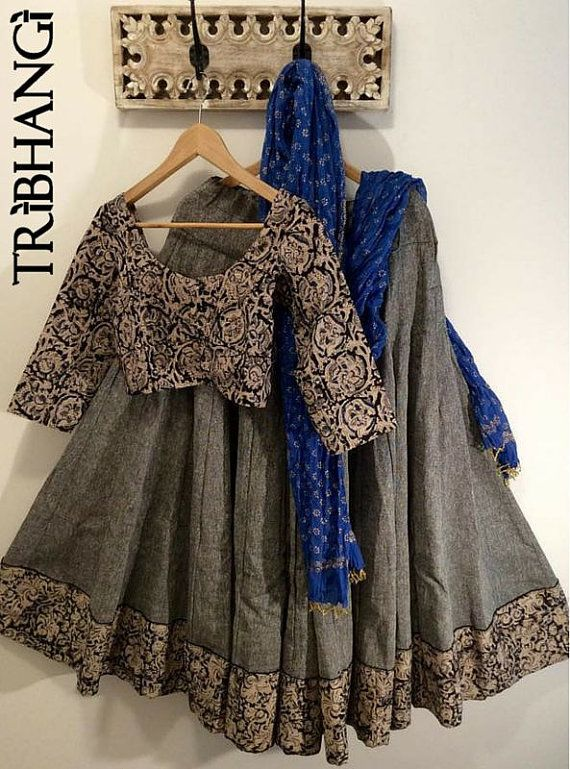 Kalamkari grey tribal gopi skirt with readymade blouse and blue…