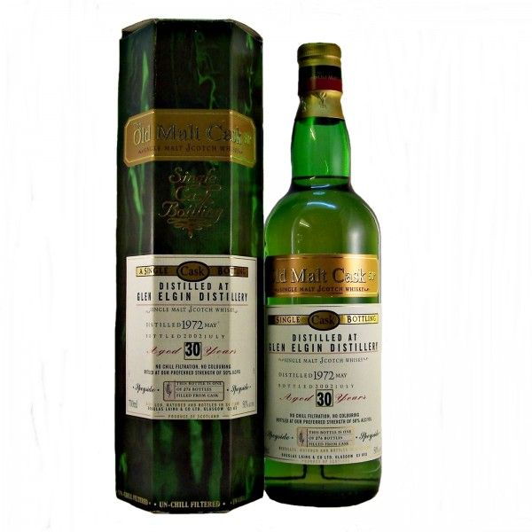 30 year old Glen Elgin Single Malt Scotch Whisky from a single cask. Distilled in May 1972 and bottled in July 2002 by Douglas Laing & Co. under the Old Malt Cask range of whiskies. This bottle is one of only 276 filled from a single cask.