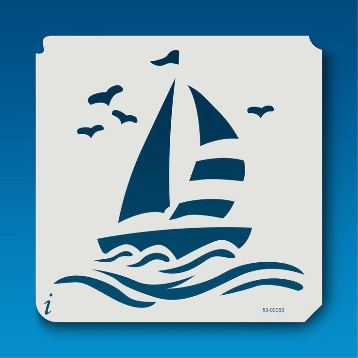 трафарет корабль на море на открытку два яруса, как
