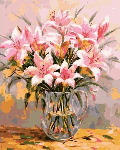 Розовые лилии худ. Антонио Джанильятти Раскрашивание по номерам Мenglei (Китай)