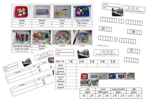 - La marchande en GS/CP : les fiches - - trousse & cartable