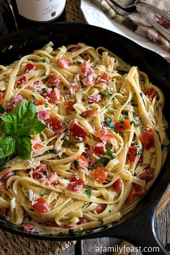Fettuccine in Cream, Tomato & Basil Sauce - A simple and delicious recipe (similar to Fettuccine Alfredo) but with fresh and fantastic flavors!