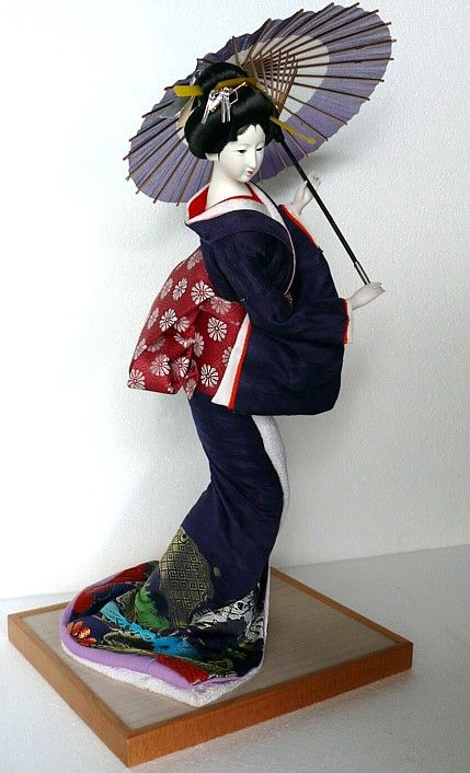 geisha doll | geisha doll with umbrella, japanese traditional doll, 1960s