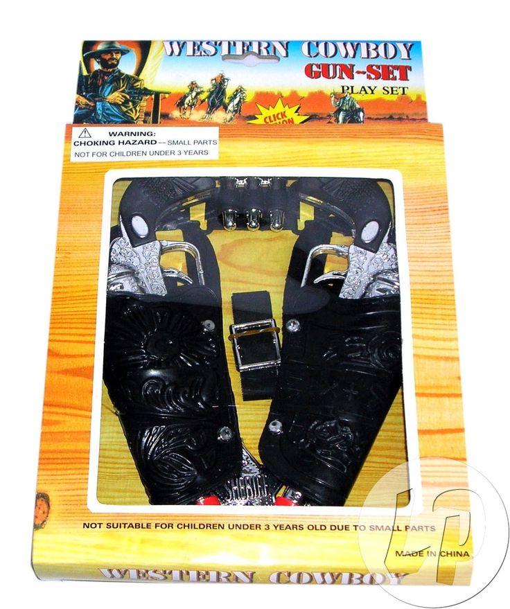 Cowboy pistolsæt til dit Cowboy kostume til Cowboy temafest for voksne og børn.