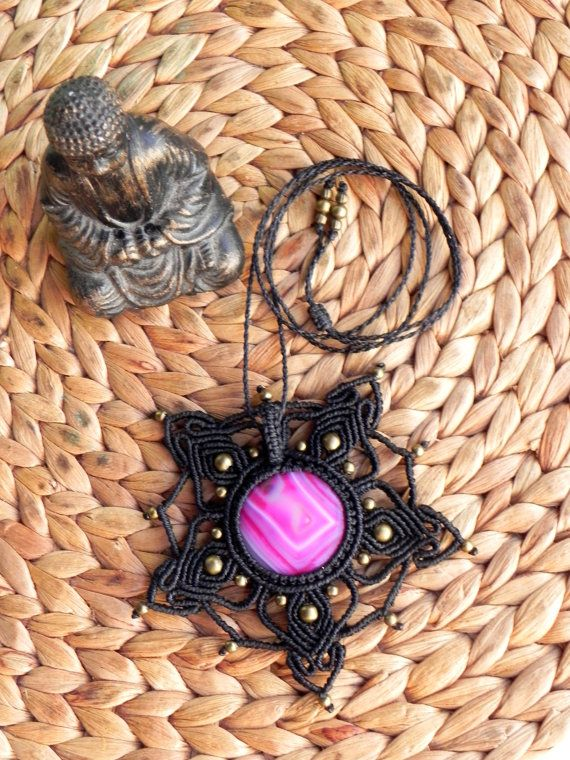 Macrame mandala necklace with pink agate. Boho hippie by QuetzArt