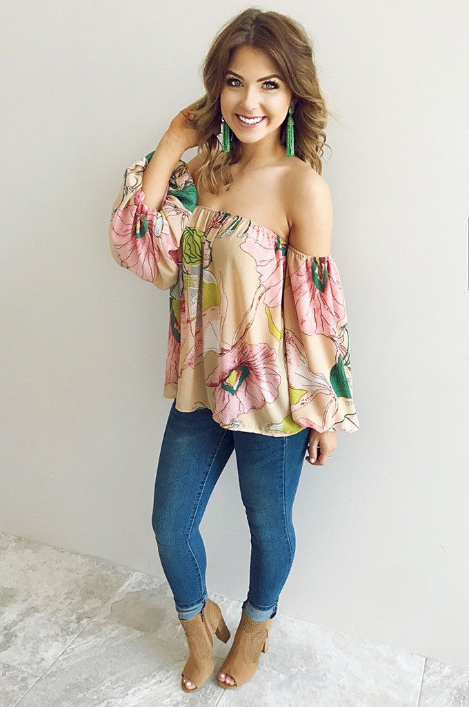 Bouquet Of Love Top: Sand/Multi